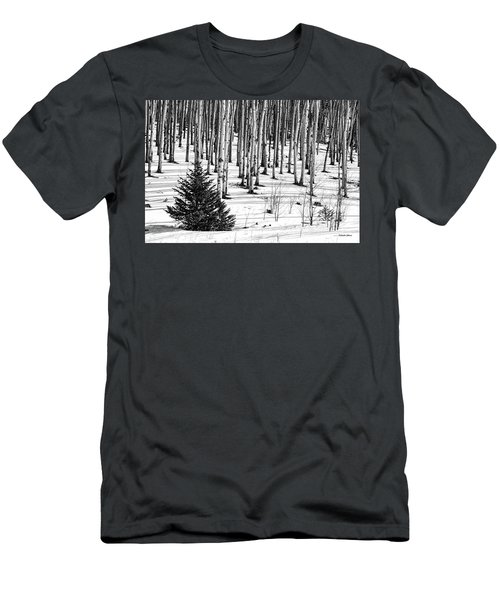 Looking Through The Aspen Black And White Men's T-Shirt (Athletic Fit)