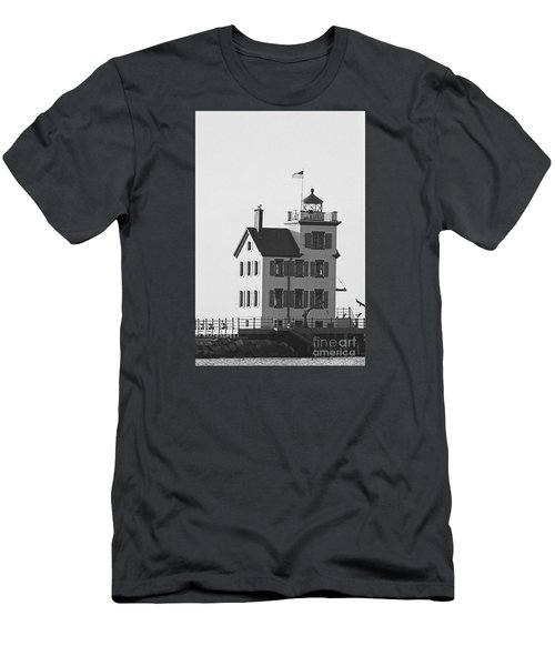 Lorain Lighthouse In Black And White Men's T-Shirt (Athletic Fit)