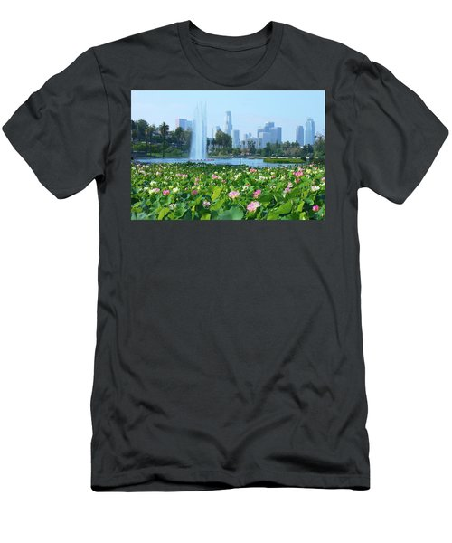 Lotus Blooms And Los Angeles Skyline Men's T-Shirt (Athletic Fit)