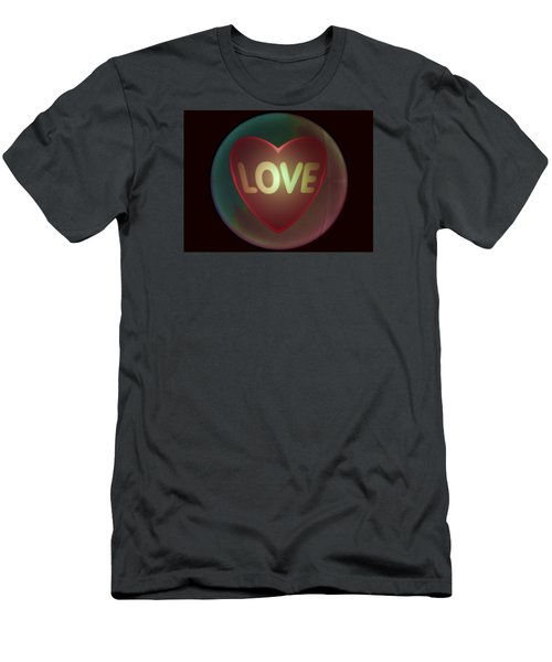 Love Heart Inside A Bakelite Round Package Men's T-Shirt (Athletic Fit)