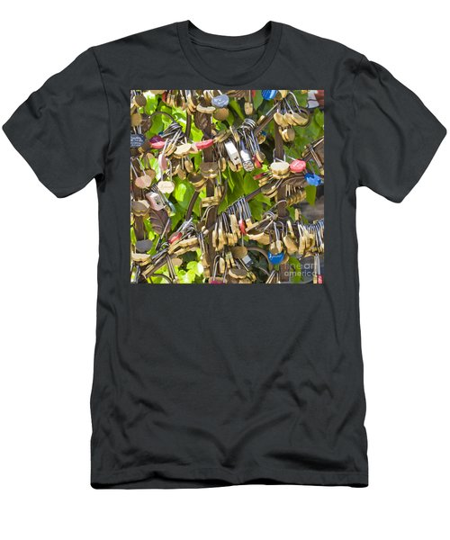 Men's T-Shirt (Slim Fit) featuring the photograph Love Locks Square by Chris Dutton