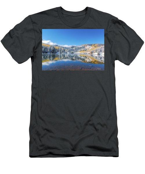 Lower Cataract Lake Fall Snow Scene Men's T-Shirt (Athletic Fit)