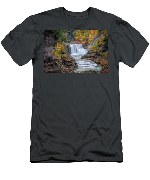 Lower Falls In Autumn Men's T-Shirt (Athletic Fit)