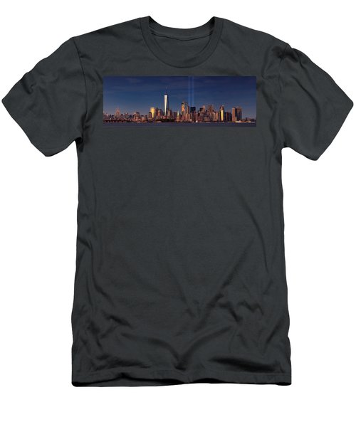 Men's T-Shirt (Slim Fit) featuring the photograph Lower Manhattantribute In Light by Emmanuel Panagiotakis