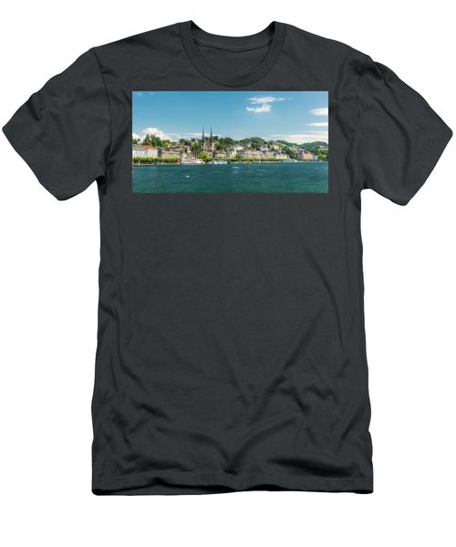 Men's T-Shirt (Slim Fit) featuring the photograph Lucerne Panorama by Wolfgang Vogt