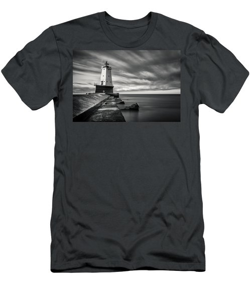 Men's T-Shirt (Slim Fit) featuring the photograph Ludington Light Black And White by Adam Romanowicz