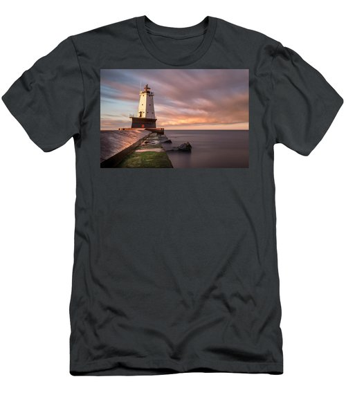 Men's T-Shirt (Athletic Fit) featuring the photograph Ludington Light Sunrise Long Exposure by Adam Romanowicz