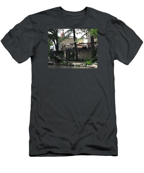 Men's T-Shirt (Slim Fit) featuring the digital art Lunch Above The River Walk by Kirt Tisdale