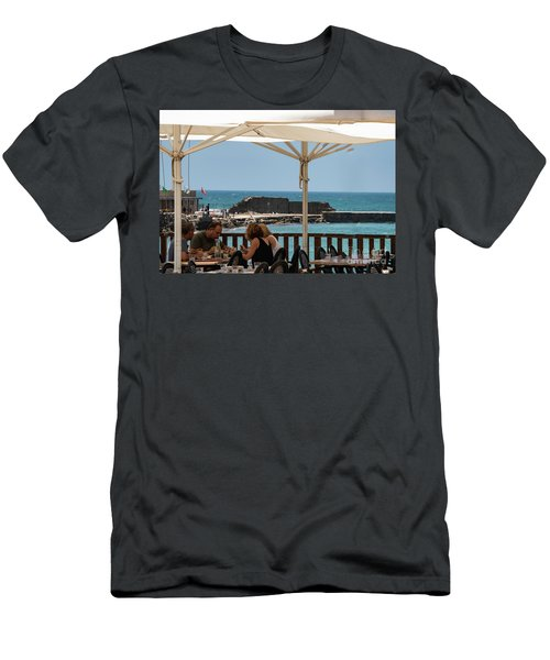 Men's T-Shirt (Athletic Fit) featuring the photograph Lunch At The Mediterranean by Mae Wertz