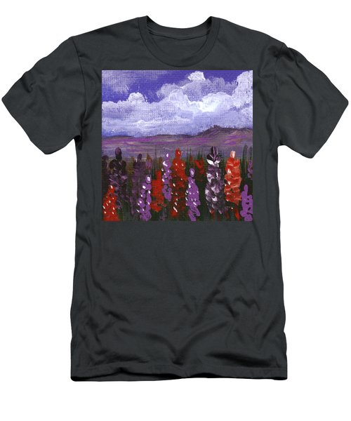 Men's T-Shirt (Athletic Fit) featuring the painting Lupine Land #2 by Anastasiya Malakhova