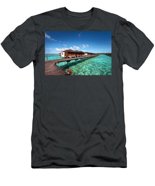 Men's T-Shirt (Athletic Fit) featuring the photograph Luxury Water Villas Of Maldivian Resort by Jenny Rainbow