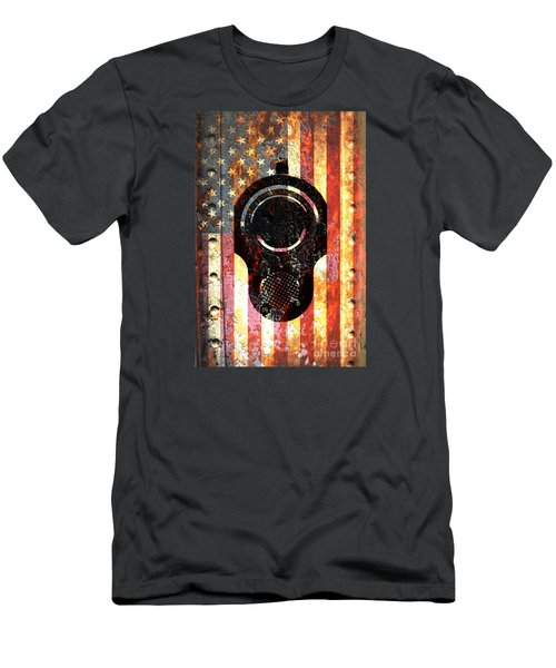 M1911 Colt 45 On Rusted American Flag Men's T-Shirt (Athletic Fit)