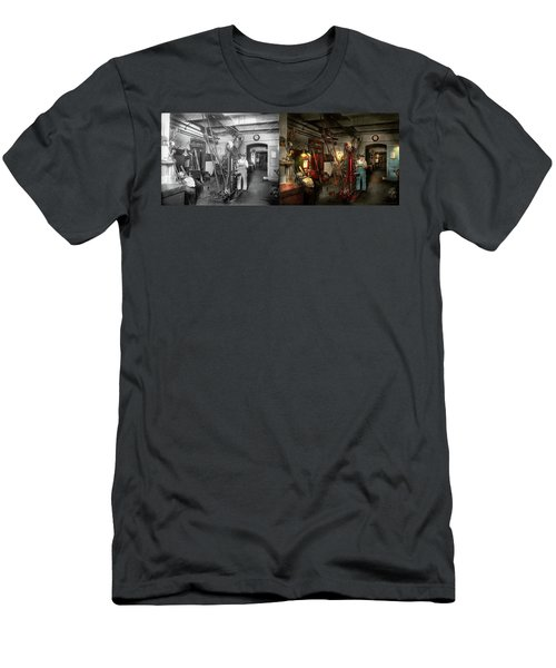 Men's T-Shirt (Slim Fit) featuring the photograph Machinist - Government Approved 1919 - Side By Side by Mike Savad