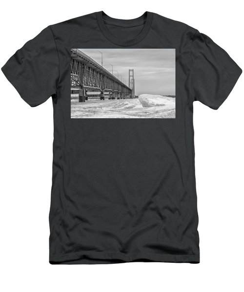 Men's T-Shirt (Slim Fit) featuring the photograph Mackinac Bridge Icy Black And White  by John McGraw