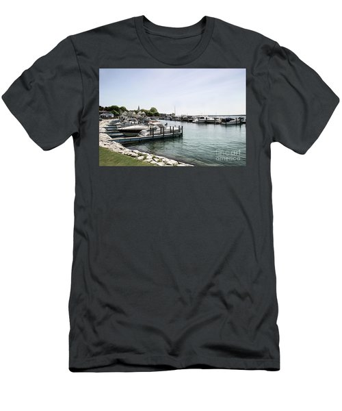 Mackinac Marina Art Men's T-Shirt (Athletic Fit)