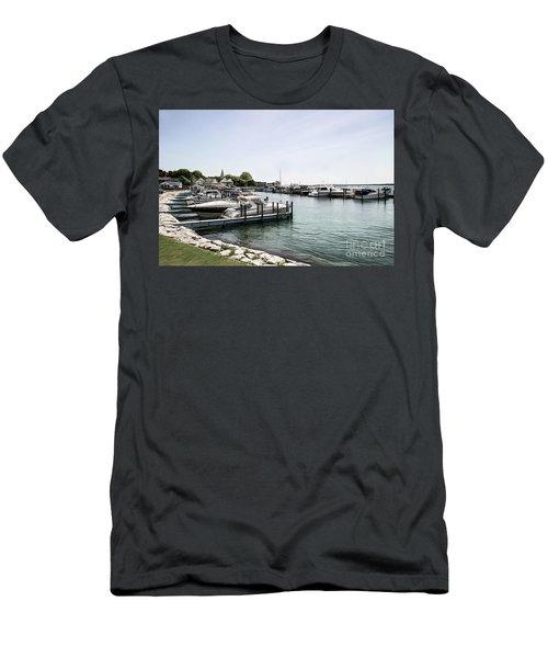 Mackinac Marina Art Men's T-Shirt (Athletic Fit)
