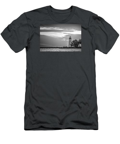 Madisonville Lighthouse In Black-and-white Men's T-Shirt (Slim Fit) by Andy Crawford