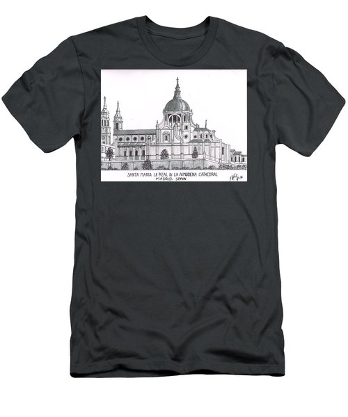 Men's T-Shirt (Slim Fit) featuring the drawing Madrid Cathedral Aimudena by Frederic Kohli