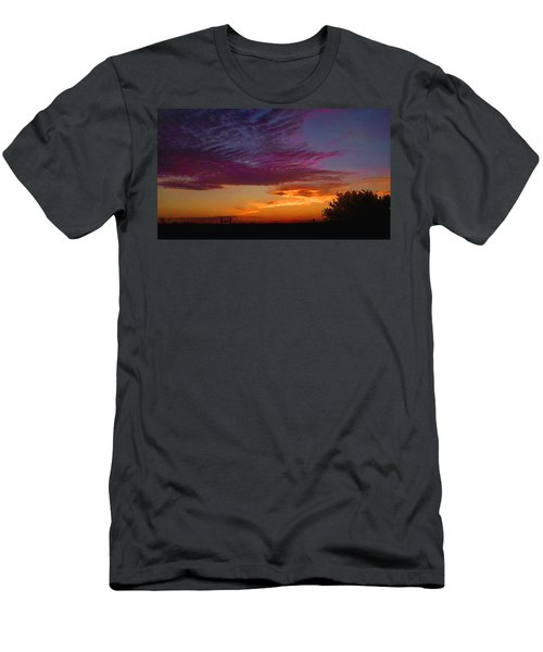 Men's T-Shirt (Athletic Fit) featuring the digital art Magenta Morning Sky by Shelli Fitzpatrick