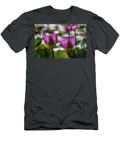 Magenta Water Lilies Men's T-Shirt (Athletic Fit)