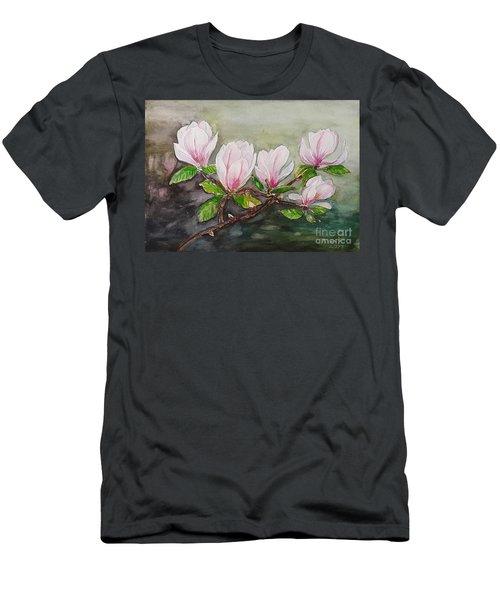 Magnolia Blossom - Painting Men's T-Shirt (Slim Fit) by Veronica Rickard