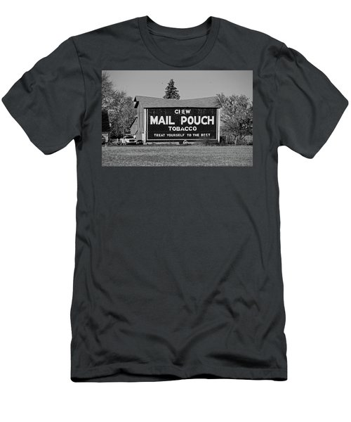 Men's T-Shirt (Slim Fit) featuring the photograph Mail Pouch Tobacco In Black And White by Michiale Schneider