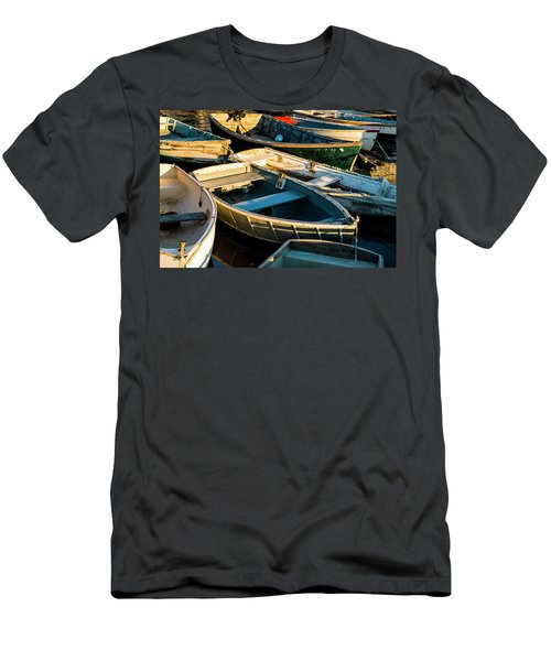 Men's T-Shirt (Slim Fit) featuring the photograph Maine Boats At Sunset by Ranjay Mitra
