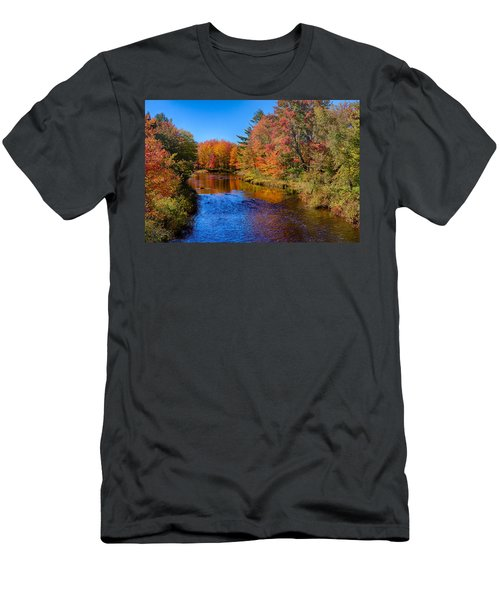 Maine Brook In Afternoon With Fall Color Reflection Men's T-Shirt (Athletic Fit)