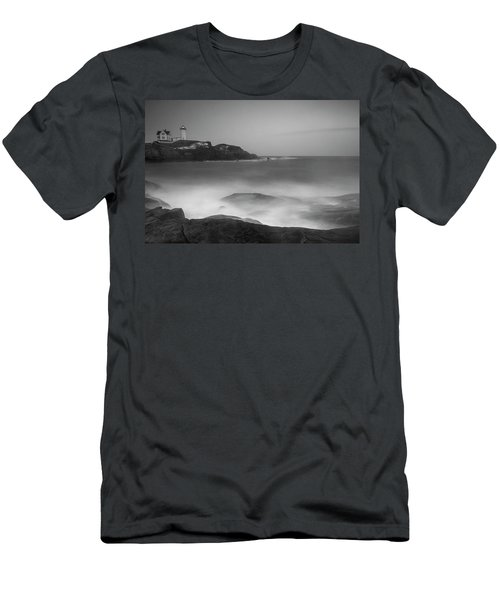 Men's T-Shirt (Athletic Fit) featuring the photograph Maine Cape Neddick Lighthouse And Rocky Coastal Waves Bw by Ranjay Mitra