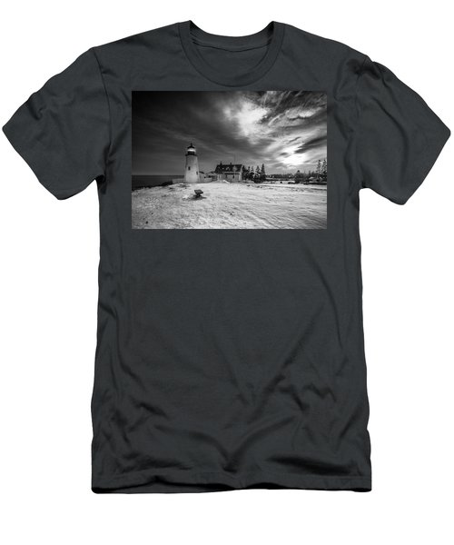 Men's T-Shirt (Slim Fit) featuring the photograph Maine Coastal Storm Over Pemaquid Lighthouse by Ranjay Mitra