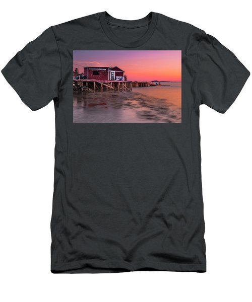 Men's T-Shirt (Slim Fit) featuring the photograph Maine Coastal Sunset At Dicks Lobsters - Crabs Shack by Ranjay Mitra