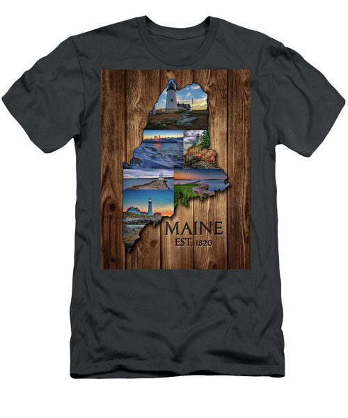 Maine Lighthouses Collage Men's T-Shirt (Athletic Fit)