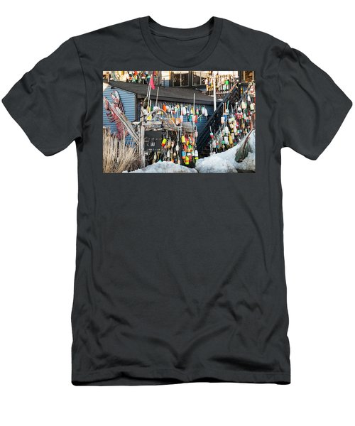 Men's T-Shirt (Slim Fit) featuring the photograph Maine Lobster Shack In Winter by Ranjay Mitra