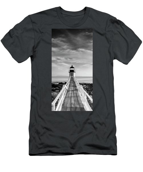 Maine Marshall Point Lighthouse Vertical Panorama In Black And White Men's T-Shirt (Athletic Fit)