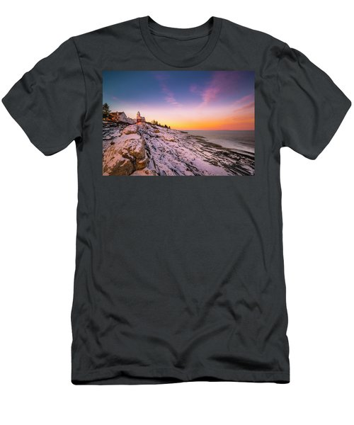 Men's T-Shirt (Athletic Fit) featuring the photograph Maine Pemaquid Lighthouse In Winter Snow by Ranjay Mitra