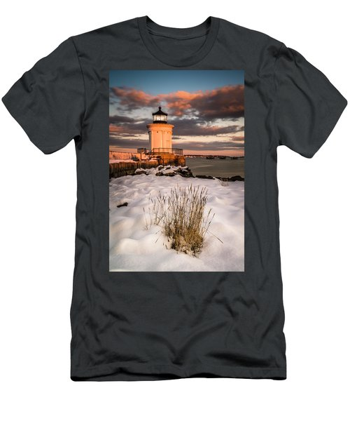 Men's T-Shirt (Athletic Fit) featuring the photograph Maine Portland Bug Light Lighthouse Sunset  by Ranjay Mitra