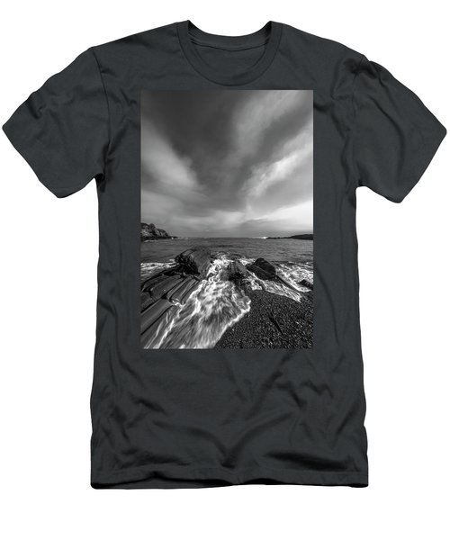 Maine Storm Clouds And Crashing Waves On Rocky Coast Men's T-Shirt (Slim Fit) by Ranjay Mitra