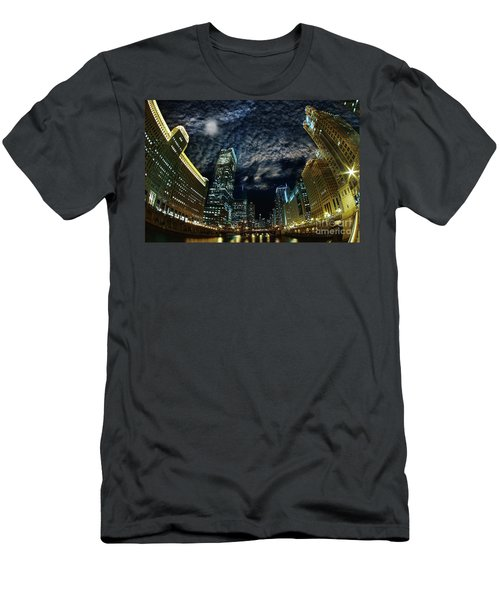 Majestic Chicago - Windy City Riverfront At Night Men's T-Shirt (Athletic Fit)