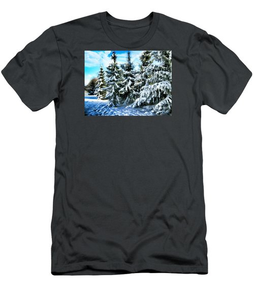 Majestic Winter In New England  Men's T-Shirt (Slim Fit) by Judy Palkimas