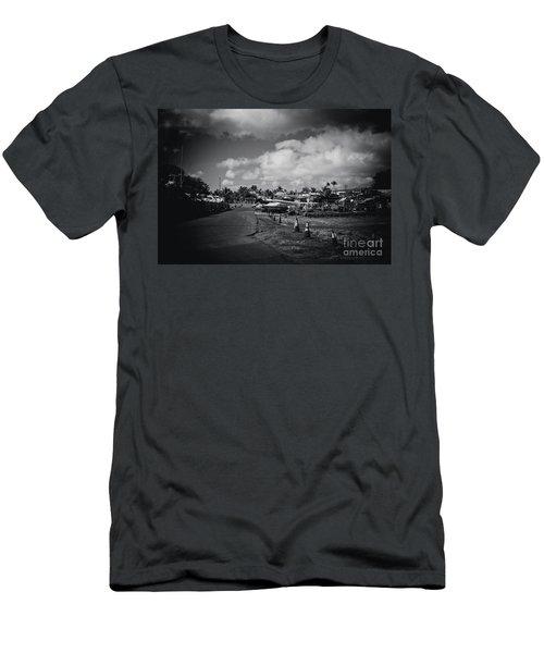 Men's T-Shirt (Slim Fit) featuring the photograph Mala Wharf Ala Moana Street Lahaina Maui Hawaii by Sharon Mau