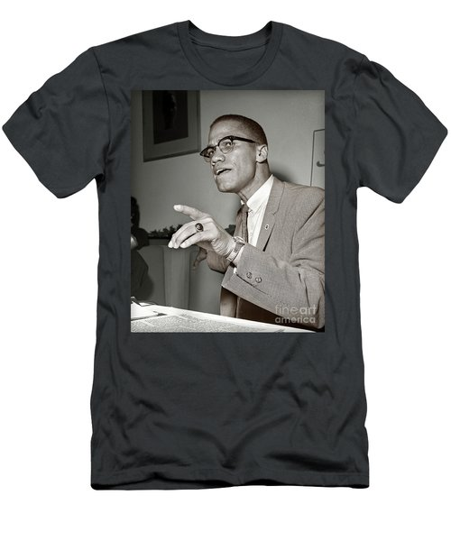 Men's T-Shirt (Slim Fit) featuring the photograph Malcolm X  by Martin Konopacki Restoration