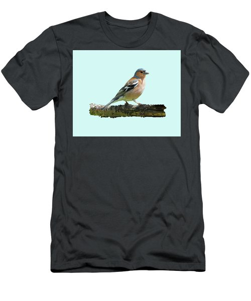 Male Chaffinch, Blue Background Men's T-Shirt (Slim Fit) by Paul Gulliver
