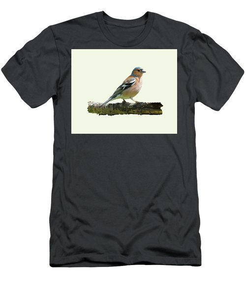 Men's T-Shirt (Slim Fit) featuring the photograph Male Chaffinch, Cream Background by Paul Gulliver