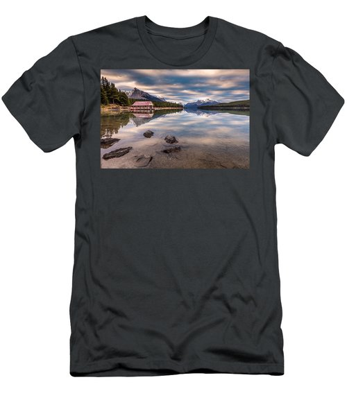 Maligne Lake Boat House Sunrise Men's T-Shirt (Slim Fit) by Pierre Leclerc Photography