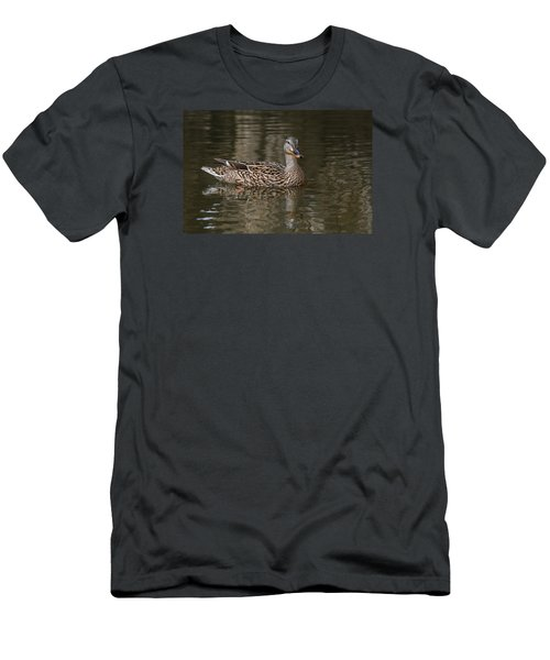 Men's T-Shirt (Slim Fit) featuring the photograph Mallard Hen by Elaine Malott