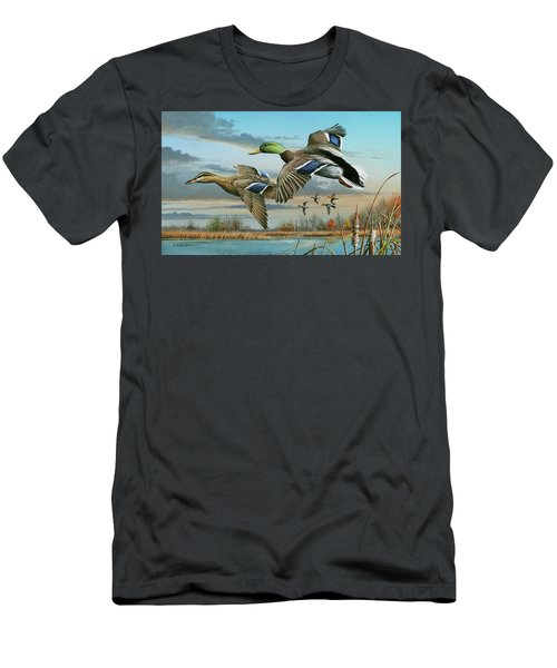 Mallards In Flight Men's T-Shirt (Slim Fit) by Mike Brown