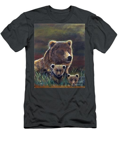 Men's T-Shirt (Slim Fit) featuring the painting Mammas Warmth by Leslie Allen