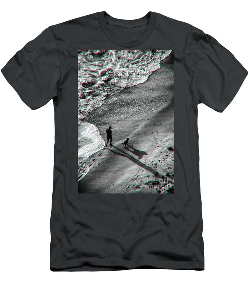 Man And Dog On The Beach Men's T-Shirt (Athletic Fit)