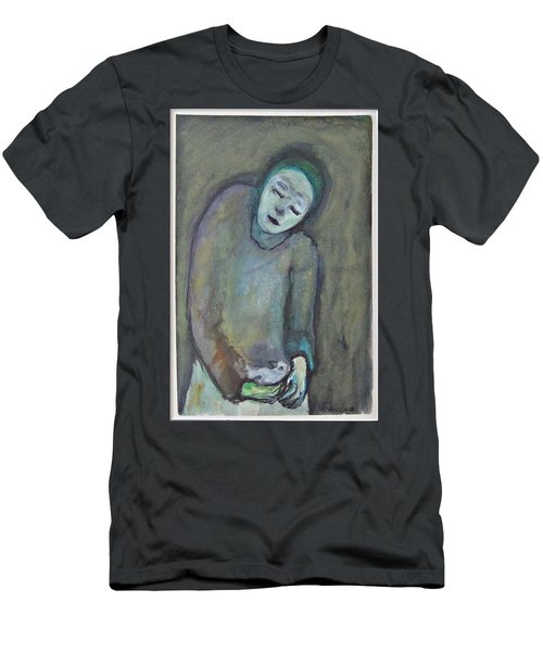 Man Holding Bird Men's T-Shirt (Athletic Fit)