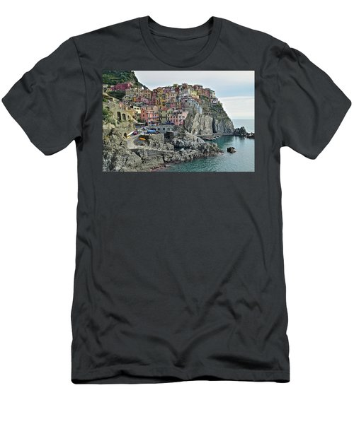 Men's T-Shirt (Slim Fit) featuring the photograph Manarola Version Three by Frozen in Time Fine Art Photography